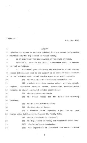 Primary view of object titled '81st Texas Legislature, Regular Session, House Bill 4343, Chapter 1027'.