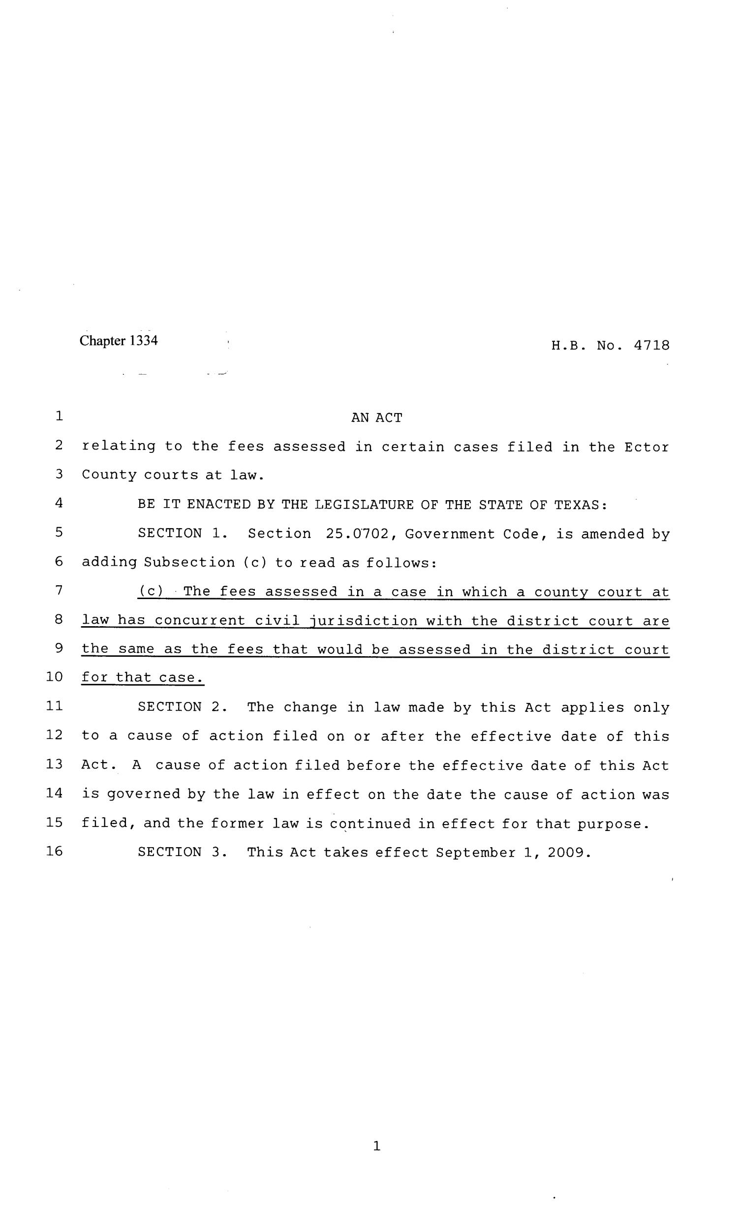 81st Texas Legislature, Regular Session, House Bill 4718, Chapter 1334                                                                                                      [Sequence #]: 1 of 2