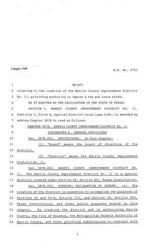 Primary view of object titled '81st Texas Legislature, Regular Session, House Bill 4722, Chapter 1068'.