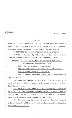 Primary view of object titled '81st Texas Legislature, Regular Session, House Bill 4737, Chapter 1071'.
