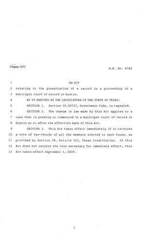Primary view of object titled '81st Texas Legislature, Regular Session, House Bill 4742, Chapter 1073'.