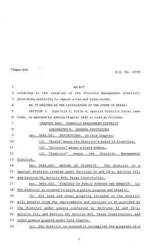 81st Texas Legislature, Regular Session, House Bill 4759, Chapter 1079