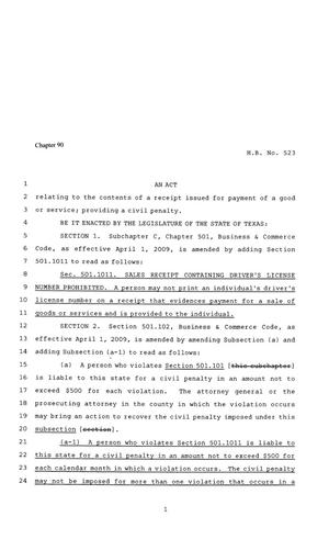Primary view of object titled '81st Texas Legislature, Regular Session, House Bill 523, Chapter 90'.