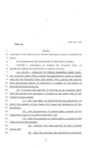Primary view of object titled '81st Texas Legislature, Regular Session, House Bill 534, Chapter 601'.