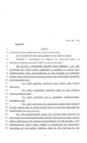 81st Texas Legislature, Regular Session, House Bill 719, Chapter