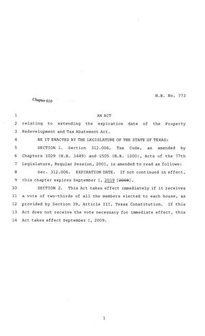 Primary view of object titled '81st Texas Legislature, Regular Session, House Bill 773, Chapter 610'.