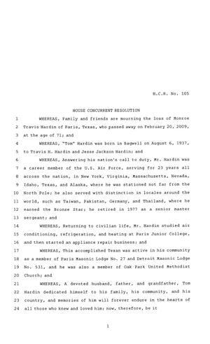 Primary view of object titled '81st Texas Legislature, House Concurrent Resolution, House Bill 105'.