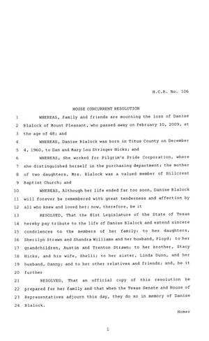Primary view of object titled '81st Texas Legislature, House Concurrent Resolution, House Bill 106'.