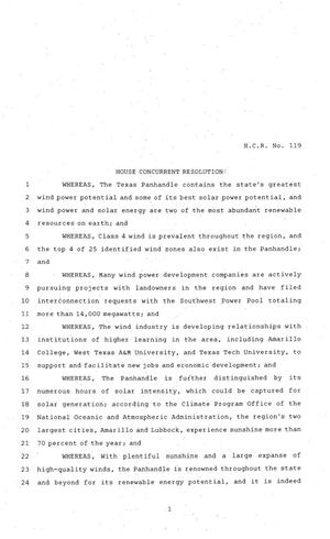 Primary view of object titled '81st Texas Legislature, House Concurrent Resolution, House Bill 119'.