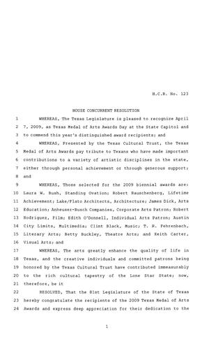 81st Texas Legislature, House Concurrent Resolution, House Bill 123