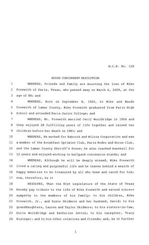81st Texas Legislature, House Concurrent Resolution, House Bill 128