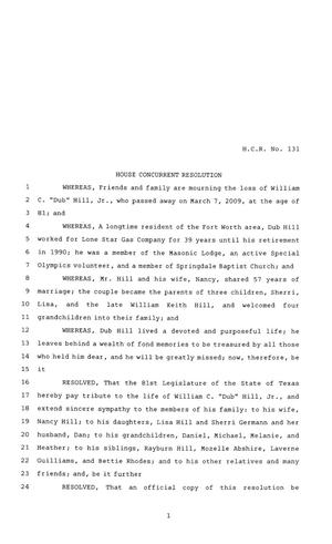 Primary view of object titled '81st Texas Legislature, House Concurrent Resolution, House Bill 131'.