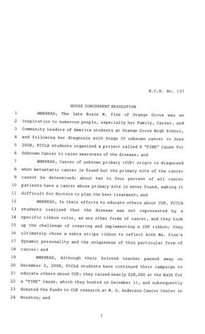 Primary view of object titled '81st Texas Legislature, House Concurrent Resolution, House Bill 137'.