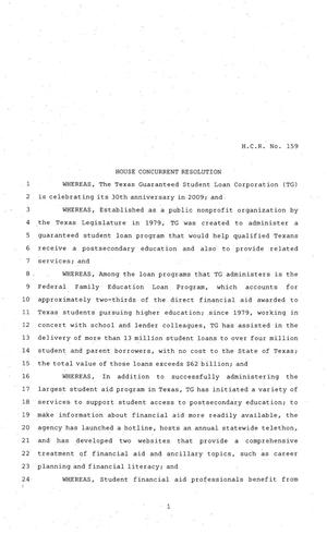 Primary view of object titled '81st Texas Legislature, House Concurrent Resolution, House Bill 159'.
