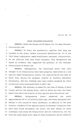 Primary view of object titled '81st Texas Legislature, House Concurrent Resolution, House Bill 16'.