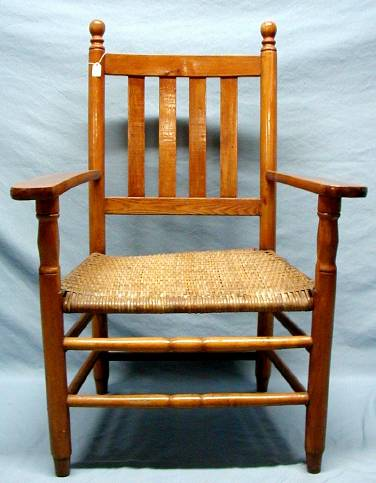 wooden arm chair with woven cane seat vertical slat back the portal to texas history. Black Bedroom Furniture Sets. Home Design Ideas