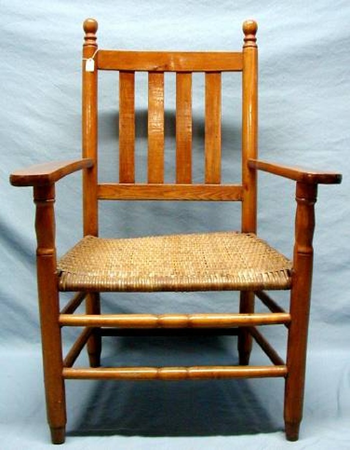 Well known Wooden arm chair with woven cane seat, vertical slat back.] - The  JE54