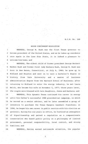 Primary view of object titled '81st Texas Legislature, House Concurrent Resolution, House Bill 168'.