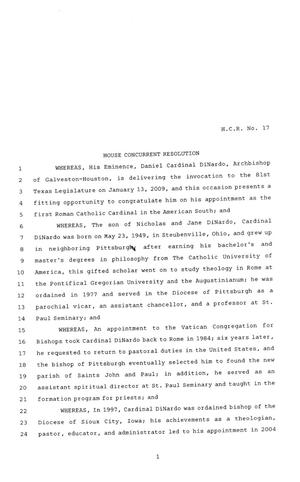 Primary view of object titled '81st Texas Legislature, House Concurrent Resolution, House Bill 17'.