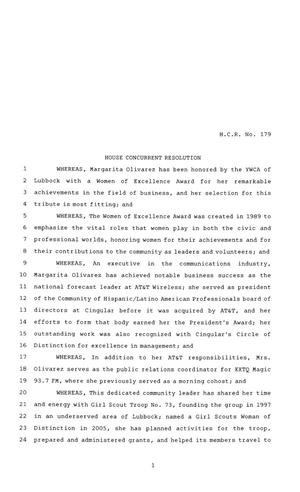 Primary view of object titled '81st Texas Legislature, House Concurrent Resolution, House Bill 179'.