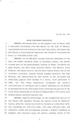 Primary view of object titled '81st Texas Legislature, House Concurrent Resolution, House Bill 181'.