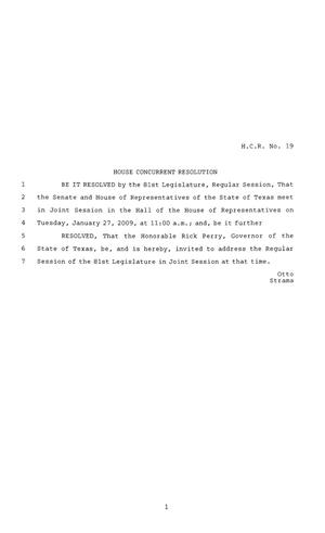 Primary view of object titled '81st Texas Legislature, House Concurrent Resolution, House Bill 19'.