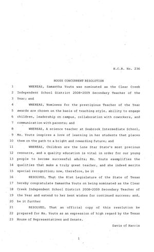 Primary view of object titled '81st Texas Legislature, House Concurrent Resolution, House Bill 236'.