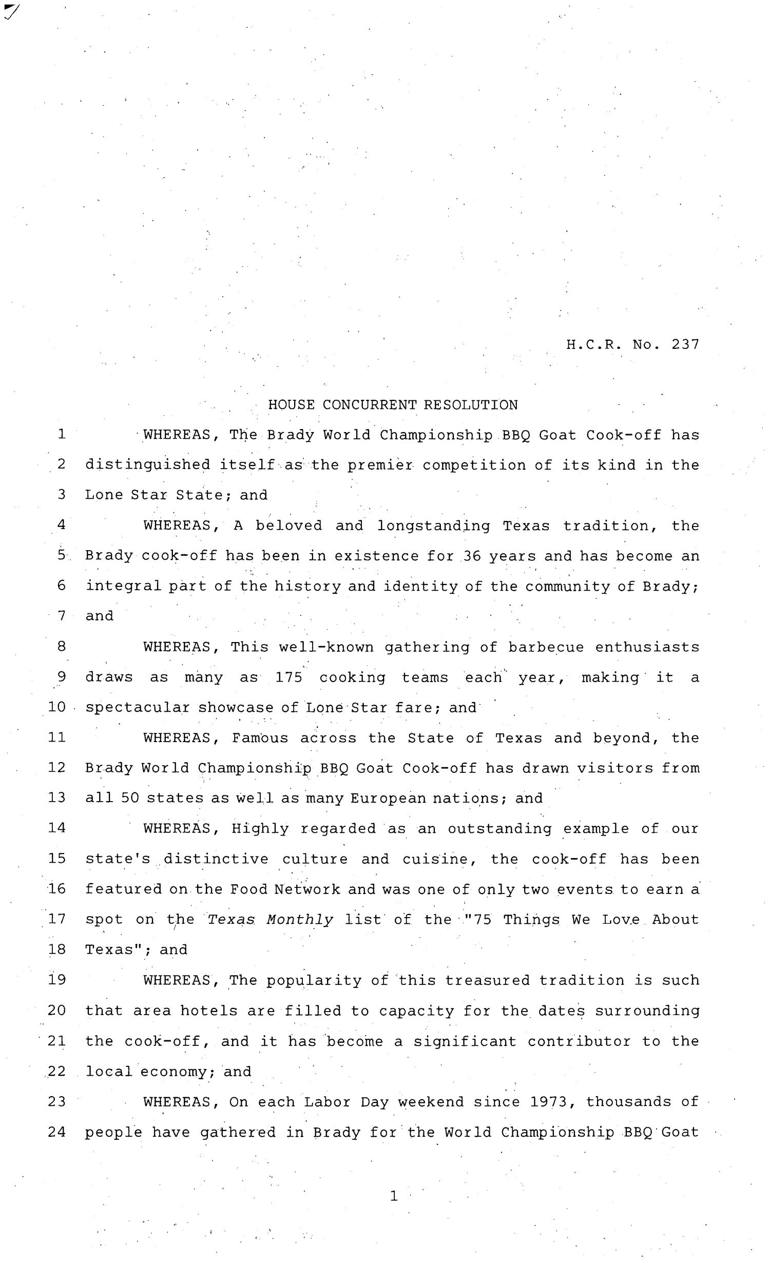 81st Texas Legislature, House Concurrent Resolution, House Bill 237                                                                                                      [Sequence #]: 1 of 3