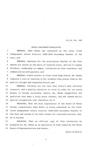 Primary view of object titled '81st Texas Legislature, House Concurrent Resolution, House Bill 240'.