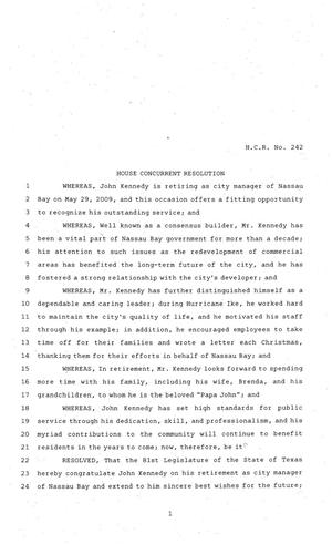 Primary view of object titled '81st Texas Legislature, House Concurrent Resolution, House Bill 242'.