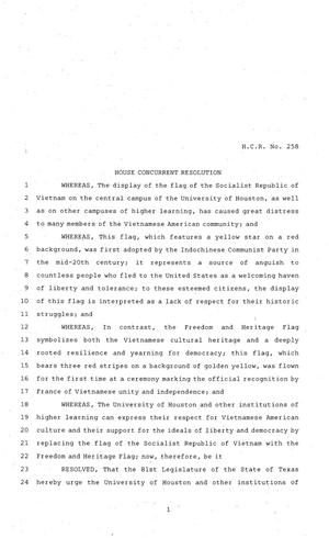 Primary view of object titled '81st Texas Legislature, House Concurrent Resolution, House Bill 258'.