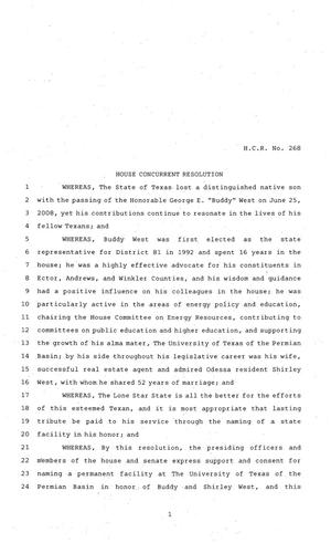 81st Texas Legislature, House Concurrent Resolution, House Bill 268