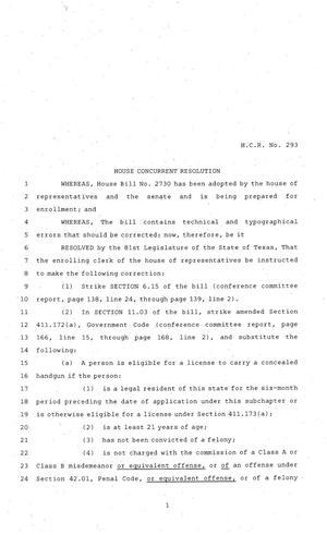 Primary view of object titled '81st Texas Legislature, House Concurrent Resolution, House Bill 293'.