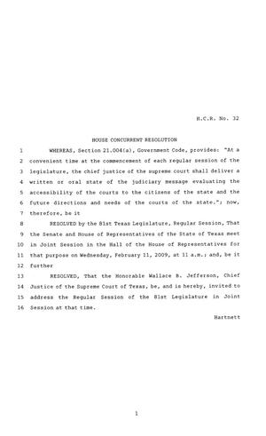 81st Texas Legislature, House Concurrent Resolution, House Bill 32