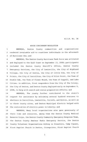 Primary view of object titled '81st Texas Legislature, House Concurrent Resolution, House Bill 36'.