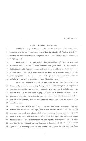 Primary view of object titled '81st Texas Legislature, House Concurrent Resolution, House Bill 37'.