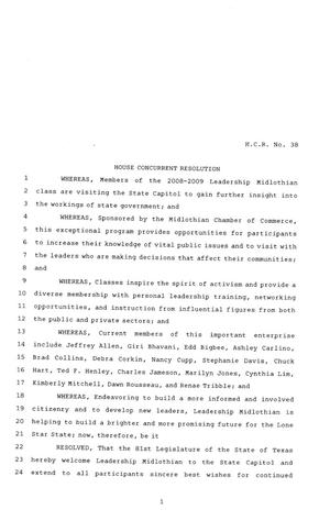 Primary view of object titled '81st Texas Legislature, House Concurrent Resolution, House Bill 38'.