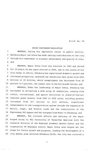 Primary view of object titled '81st Texas Legislature, House Concurrent Resolution, House Bill 39'.