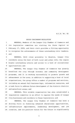 Primary view of object titled '81st Texas Legislature, House Concurrent Resolution, House Bill 42'.