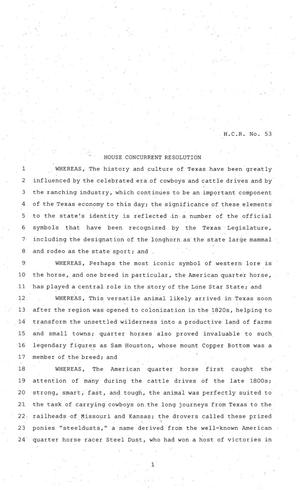 81st Texas Legislature, House Concurrent Resolution, House Bill 53