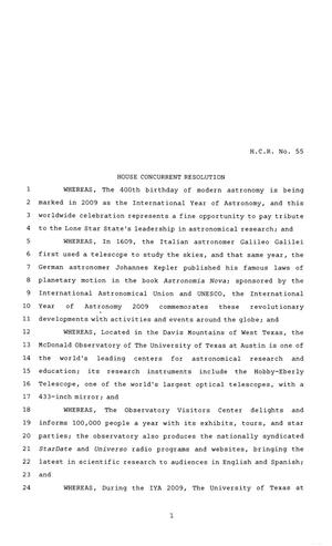 Primary view of object titled '81st Texas Legislature, House Concurrent Resolution, House Bill 55'.