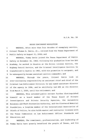 Primary view of object titled '81st Texas Legislature, House Concurrent Resolution, House Bill 58'.