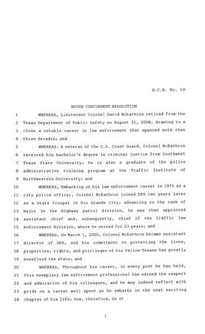 Primary view of object titled '81st Texas Legislature, House Concurrent Resolution, House Bill 59'.