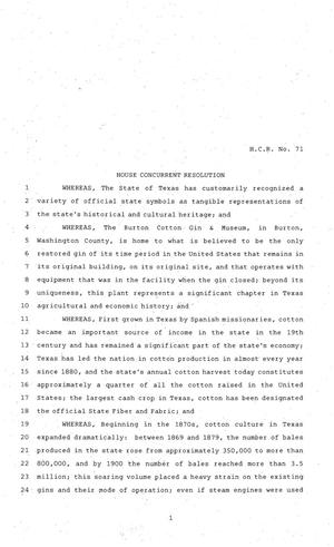 Primary view of object titled '81st Texas Legislature, House Concurrent Resolution, House Bill 71'.