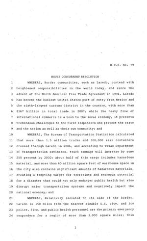 Primary view of object titled '81st Texas Legislature, House Concurrent Resolution, House Bill 79'.