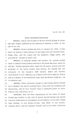 81st Texas Legislature, House Concurrent Resolution, House Bill 83