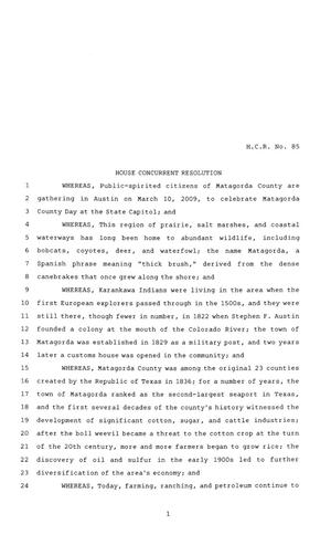 Primary view of object titled '81st Texas Legislature, House Concurrent Resolution, House Bill 85'.