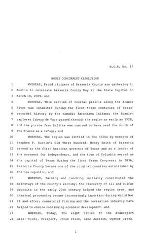 Primary view of object titled '81st Texas Legislature, House Concurrent Resolution, House Bill 87'.
