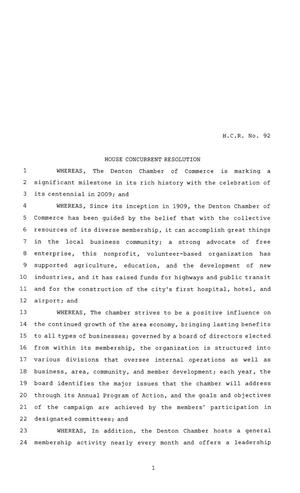 Primary view of object titled '81st Texas Legislature, House Concurrent Resolution, House Bill 92'.