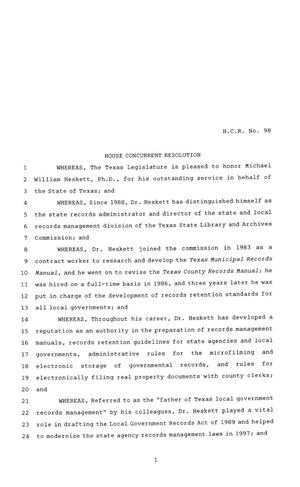 Primary view of object titled '81st Texas Legislature, House Concurrent Resolution, House Bill 98'.